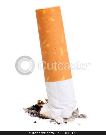 Single cigarette butt with ash stock photo, Single cigarette butt with ash. Close-up. Isolated on white background. Studio photography. by Andrey Khritin
