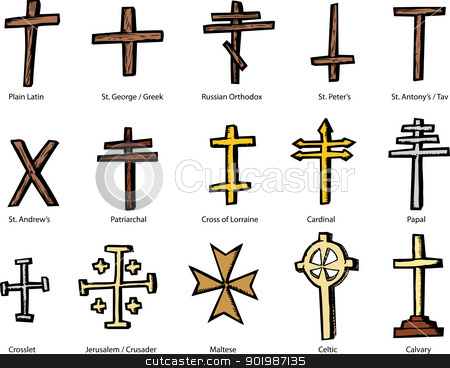 Various Christian Crucifix Designs stock vector clipart, Set of historically accurate crosses representing various Christian churches by Eric Basir