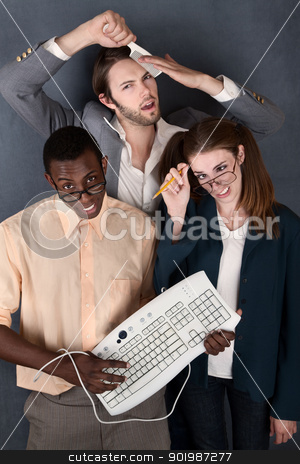 Trio of Odd Adults stock photo, Geeks with keyboard, salesman comb and pencil making faces by Scott Griessel