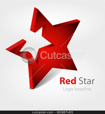 3D vector logo/logotype stock vector clipart, Originaly designed red star 3D vector logo/logotype by Vladimir Repka