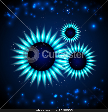 Gas Flame. stock photo, Blue gas planet over universe. Vector illustration. by Kotkoa