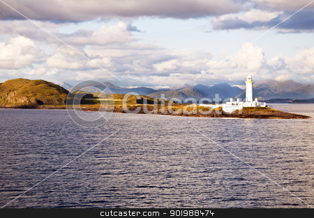 Scotland -  Eilean Musdile Lighthouse stock photo, The Eilean Musdile Lighthouse between Oban and Isle of Mull by SRSImages