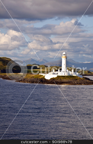 Scotland -  Eilean Musdile Lighthouse stock photo, The Eilean Musdile lighthouse on Lismore between Oban and Isle of Mull by SRSImages