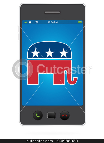 Realistic Mobile Phone on White Background with Republican Party stock vector clipart, Realistic Mobile Phone on White Background with Republican Party by Erdem