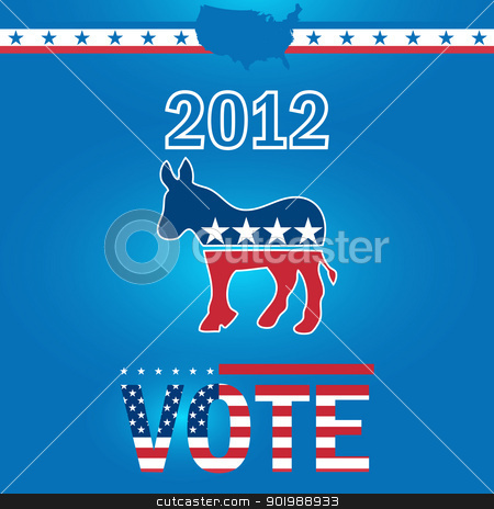 Vote Democrat 2012 stock vector clipart, Vote Democrat 2012 by Erdem