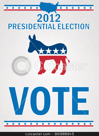 Vote Democrat Poster stock vector clipart, Vote Democrat Poster by Erdem