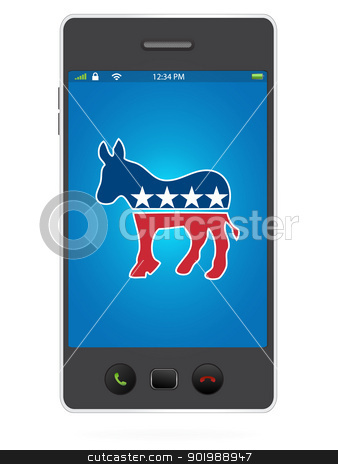 Realistic Mobile Phone on White Background with Democrat Party stock vector clipart, Realistic Mobile Phone on White Background with Democrat Party by Erdem