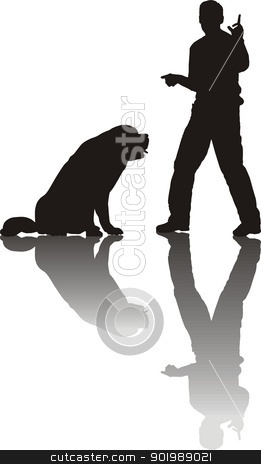 Dog Training in the field stock vector clipart, black illustration of a man training for his dog by Vladim?