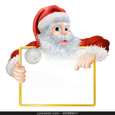 Christmas Santa Claus Sign stock vector clipart, Christmas illustration of Santa holding and pointing at a sign by Christos Georghiou