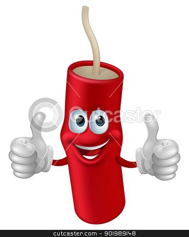 Cartoon dynamite man stock vector clipart, Cartoon cute happy firework man giving a double thumbs up by Christos Georghiou