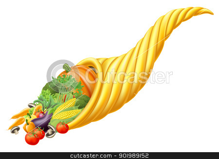 Cornucopia horn full of fresh produce food stock vector clipart, Illustration of thanksgiving or harvest festival cornucopia horn full of fresh produce food  by Christos Georghiou