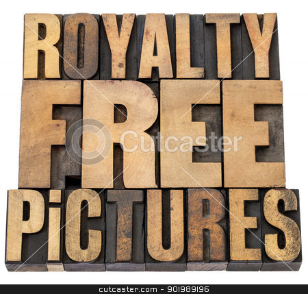 royalty free pictures stock photo, royalty free pictures - isolated words in vintage letterpress wood type by Marek Uliasz