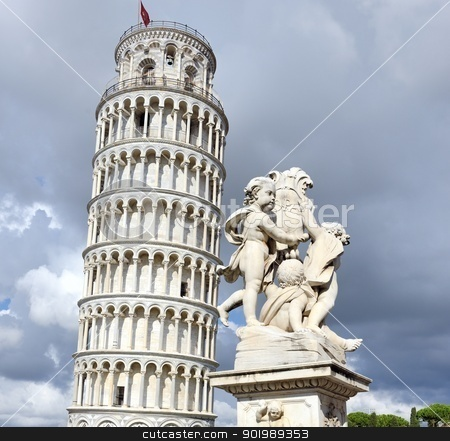 Tower of Pisa supported by back foot of sculpture stock photo, Tower of Pisa supported by back foot of sculpture by Jean Claude Neerunjun