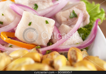 Peruvian-Style Ceviche stock photo, Peruvian-style ceviche made out of raw dogfish (Spanish: tollo), red onions and aji (Peruvian hot pepper) and served with roasted corn (cancha) (Selective Focus, Focus on the fish) by Ildi Papp