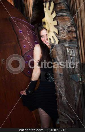 Shy Fairy stock photo, Beautiful shy fairy hides behind old door by Scott Griessel