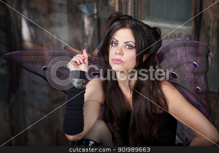 Fairy Holds a Cigar stock photo, Beautiful and Caucasian fairy holds a cigar by Scott Griessel
