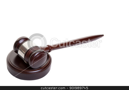 Gavel isolated on white. stock photo, Shot of wooden gavel lying on side on block. by Scott Little