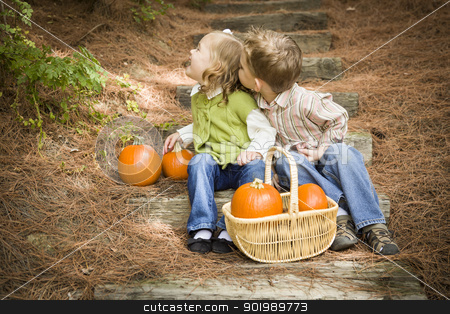 Brother and Sister Children on Wood Steps with Pumpkins Playing stock photo, Adorable Brother and Sister Children Sitting on Wood Steps with Pumpkins Whispering Secrets or Trying to Kiss Cheek. by Andy Dean