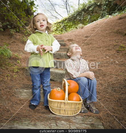 Brother and Sister Children on Wood Steps with Pumpkins Singing stock photo, Adorable Brother and Sister Children Sitting on Wood Steps with Basket of Pumpkins Singing Songs Outside. by Andy Dean