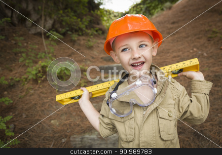 Adorable Child Boy with Level Playing Handyman Outside stock photo, Happy Adorable Child Boy with Level, Hard Hat and Goggles Playing Handyman Outside. by Andy Dean