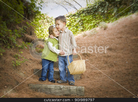 Two Children with Basket Hugging Outside on Steps stock photo, Adorable Brother and Sister Children with Basket Hugging Outside. by Andy Dean