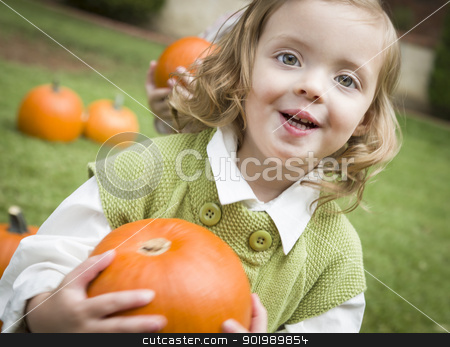 Cute Young Child Girl Enjoying the Pumpkin Patch. stock photo, Adorable Young Child Girl Enjoying the Pumpkins at the Pumpkin Patch. by Andy Dean