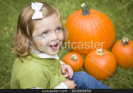 Cute Young Child Girl Enjoying the Pumpkin Patch. stock photo, Adorable Young Child Girl Enjoying the Pumpkins at the Pumpkin Patch. by Andy Dean