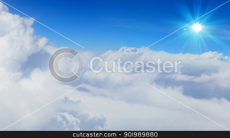 blue sky and sun. stock photo, bright blue sky with sun shining and some clouds by Sergey Nivens