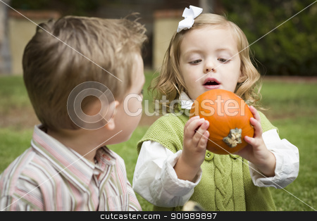 Cute Young Brother and Sister At the Pumpkin Patch stock photo, Cute Young Brother and Sister Children Enjoying the Pumpkins at the Pumpkin Patch. by Andy Dean