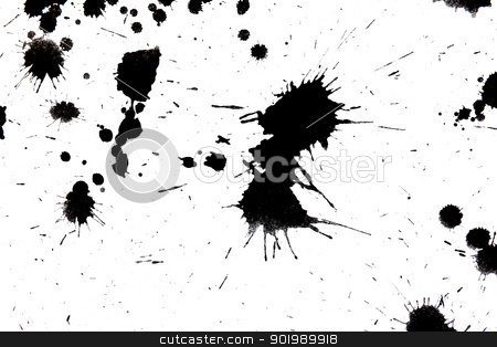 black drop ink splatter splash  - paint splatter stock photo, Black drop ink splatter. Gloss brush paint spot, grunge blot, art blob, oil, abstract droplet. Splat, liquid illustration. - paint splatter by Sergey Nivens