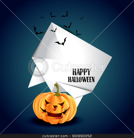 halloween background stock vector clipart, vector halloween pumpkin with space for your text by pinnacleanimates