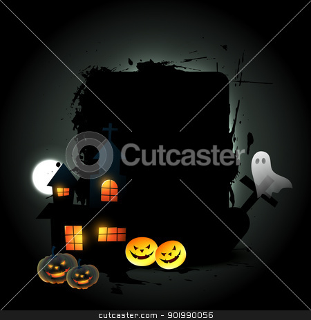 halloween background stock vector clipart, vector halloween design with space for your text by pinnacleanimates