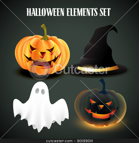 halloween vector set stock vector clipart, vector set of halloween elements by pinnacleanimates