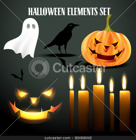 halloween elements set stock vector clipart, vector set of halloween elements by pinnacleanimates