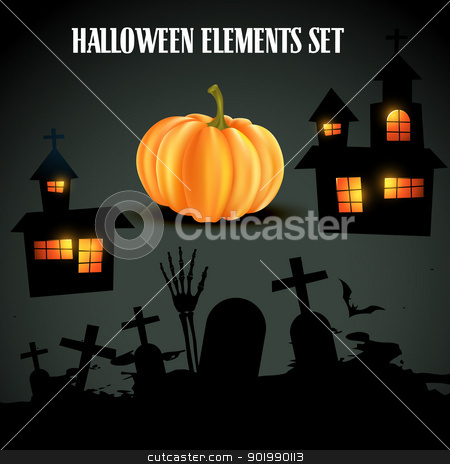 set of halloween elements stock vector clipart, vector set of halloween elements by pinnacleanimates