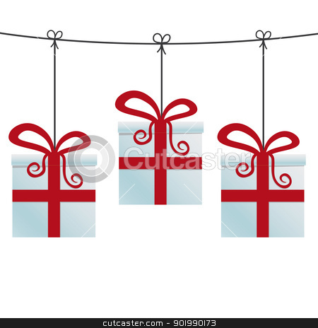 red gift boxes hanging on twine stock vector clipart, red gift boxes hanging on a twine by d3images