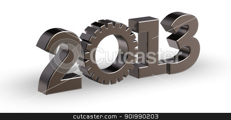 year 2013 stock photo, year number 2013 with gear wheel - 3d illustration by J?
