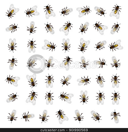 Seamless bee pattern stock vector clipart, A seamless repeating pattern design with working bees. by Richard Laschon