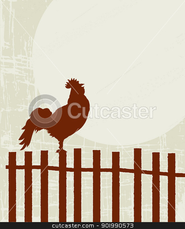 Retro rooster card stock vector clipart, Retro style illustration of a proud rooster on the fence by Richard Laschon