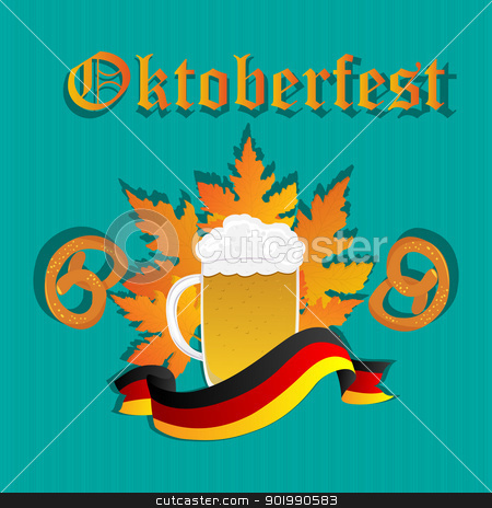 Oktoberfest design stock vector clipart, Oktoberfest design pattern with beer mug, pretzels and Germany flag. by Richard Laschon