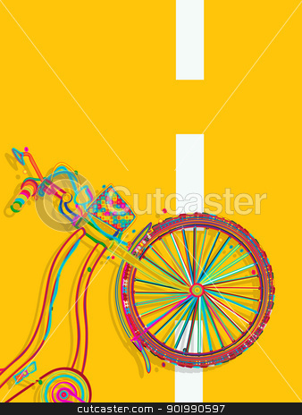 Bike card stock vector clipart, Decorative layout/ template card with a funky bicycle on the road by Richard Laschon