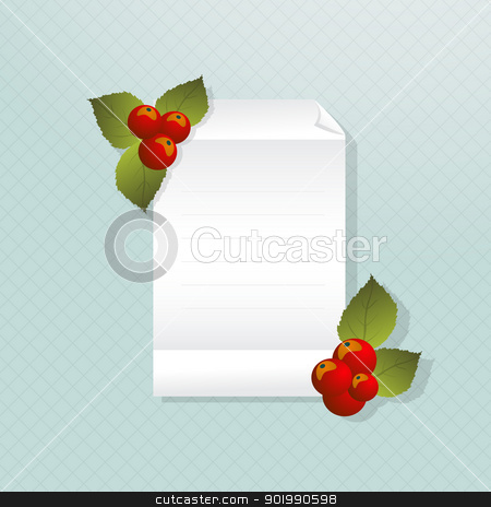 Christmas note stock vector clipart, Illustration of a empty piece of paper/invitation and Christmas decoration berries by Richard Laschon
