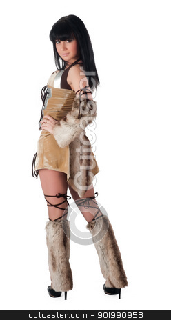 Pretty barbarian stock photo, Young beautiful woman in barbarian costume. Isolated on white by Aikon
