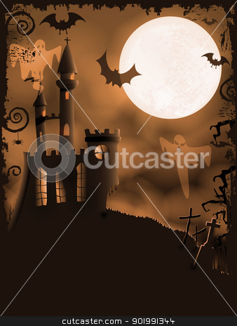 Spooky Halloween castle, vector background stock vector clipart, Orange Halloween background with haunted castle, bats, ghosts, full moon and grunge elements by Ina Wendrock