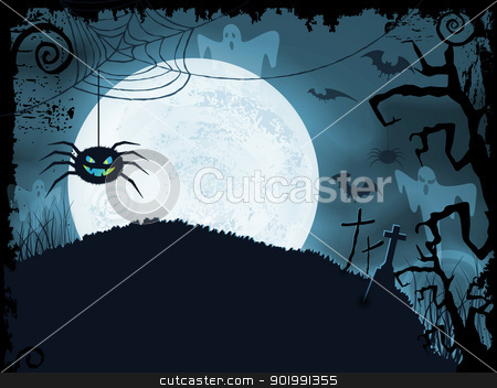 Blue Halloween background with scary spider stock vector clipart, Blue shaded Halloween background with scary spider, full moon, bats, ghosts, crosses and grunge elements.