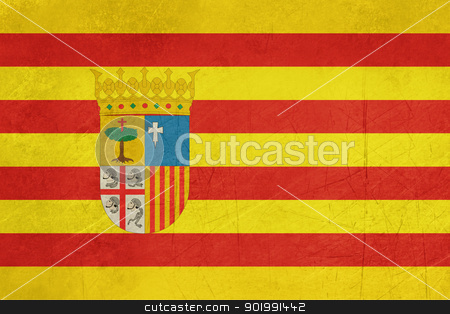 Grunge Aragon State or Province Spain flag stock photo, Grunge illustration of Aragon province or state of Spain, isolated on white background. by Martin Crowdy