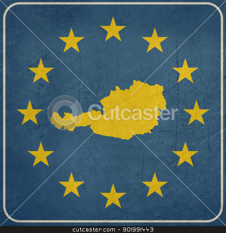 Grunge Austria European button stock photo, Grunge Austria map on blue and starry European button isolated on white background with copy space.  by Martin Crowdy