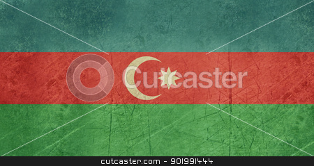 Azerbaijan Flag stock photo, Grunge sovereign state flag of country of Azerbaijan in official colors. by Martin Crowdy