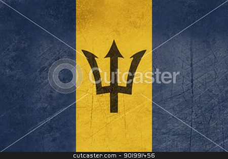 Grunge Barbados Flag stock photo, Grunge sovereign state flag of country of Barbados in official colors. by Martin Crowdy