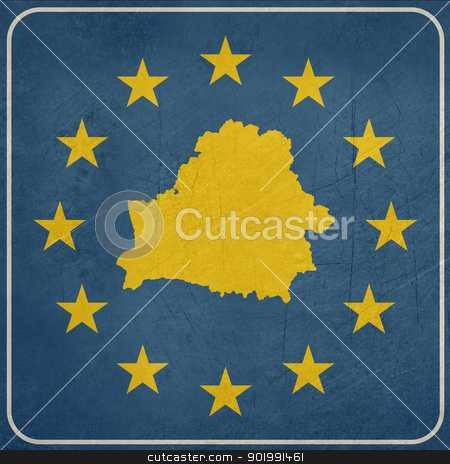 Grunge Belarus European button stock photo, Grunge Belarus map on blue and starry European button isolated on white background with copy space.  by Martin Crowdy
